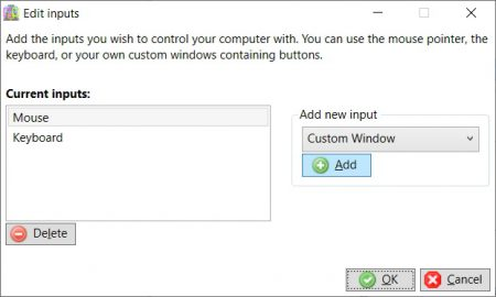 Edit inputs window