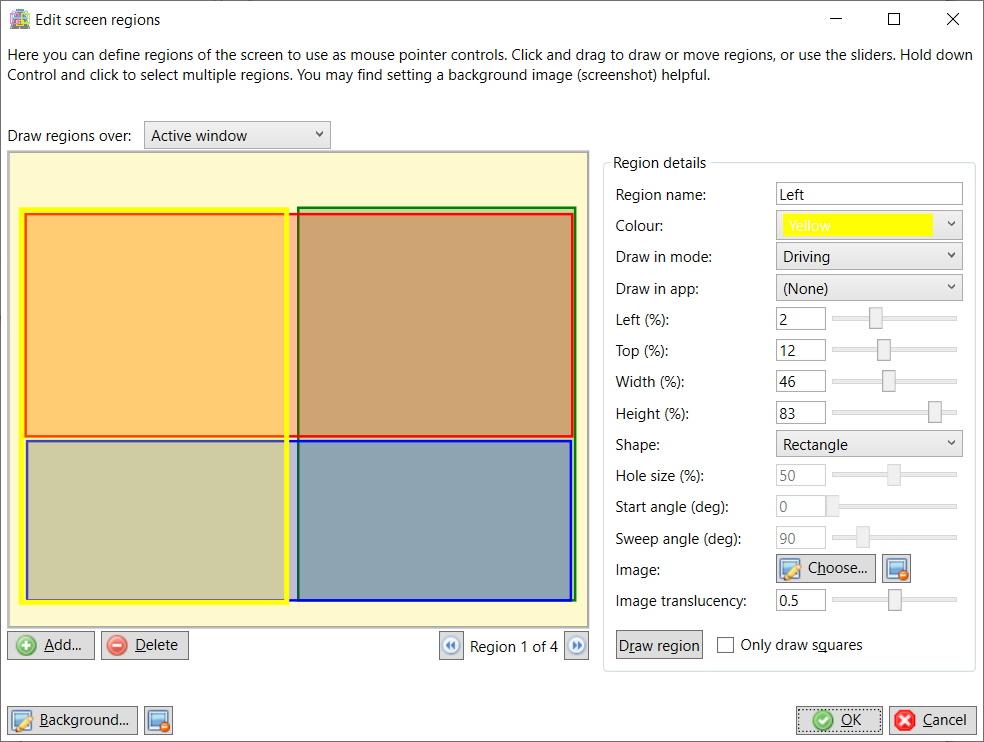 Edit screen regions window