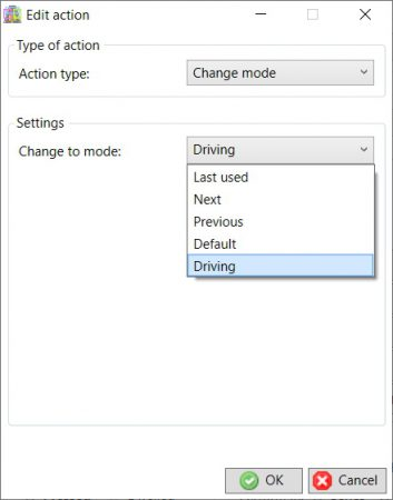Change mode action