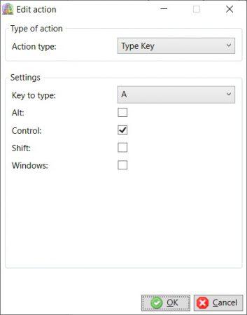 Edit action - type key