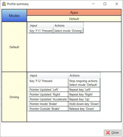 Profile summary window