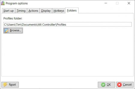 Options - profiles folder
